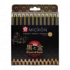 Sakura Micron, Black & Gold edition, 12 stk.