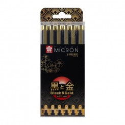 Sakura Micron, Black & Gold edition, 6 stk.