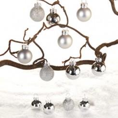 Julekugler i glas, mat/blank, sølv, 2 cm, 12 stk.