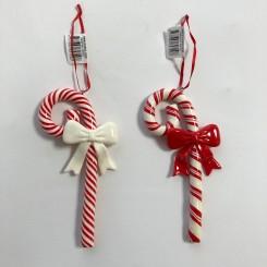 Sukkerstokke med snor og sløjfer, fimo, 16 cm