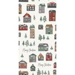 Serviet Merry Christmas og julehuse, 16 stk
