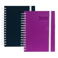 Notesbog, 3 delt, soft coated, sort eller pink A4