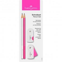 Faber Castell SPARKLE skrivesæt hvid & pink