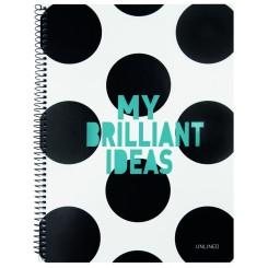 "Notesbog med spiralryg, ""My brilliant ideas"", A4"