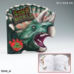 Dino World Malebog m. klistermærker