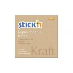 Stick'n selvklæbende notesblok 76x76mm - Kraft
